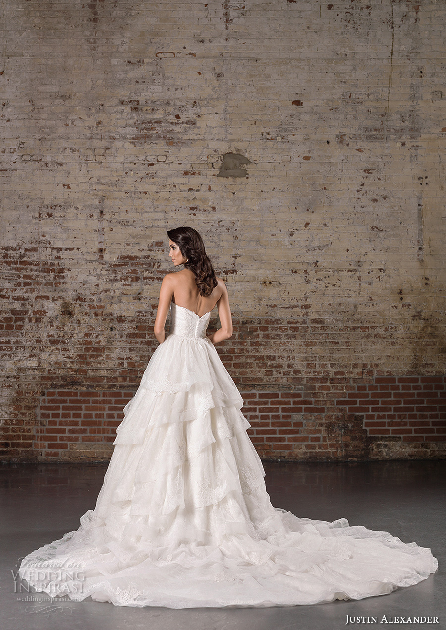 justin alexander spring 2017 bridal strapless sweetheart neckline heavily embellished bodice tiered princess classic a  line wedding dress chapel train (9859) bv