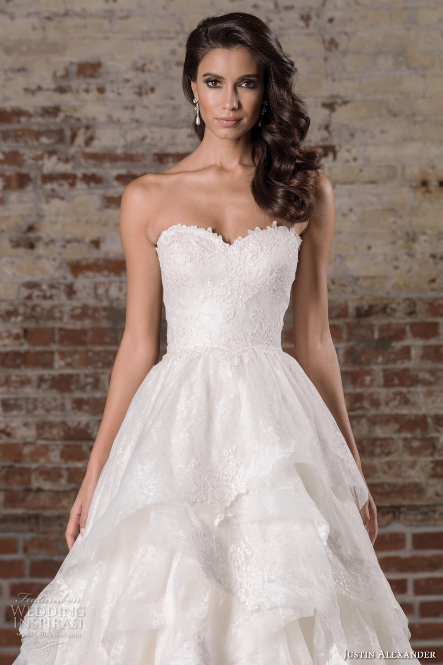 justin alexander spring 2017 bridal strapless sweetheart neckline heavily embellished bodice tiered princess classic a  line wedding dress chapel train (9859) zv