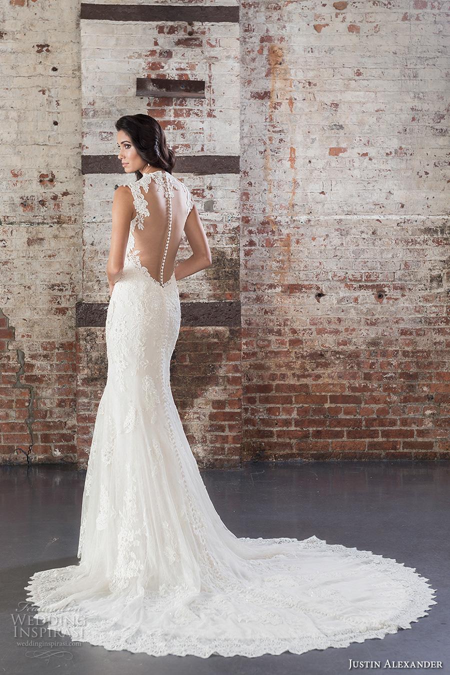 justin alexander spring 2017 bridal thick straps sweetheart neckline full embellishment elegant fit and flare wedding dress sheer back chapel train (9861) bv