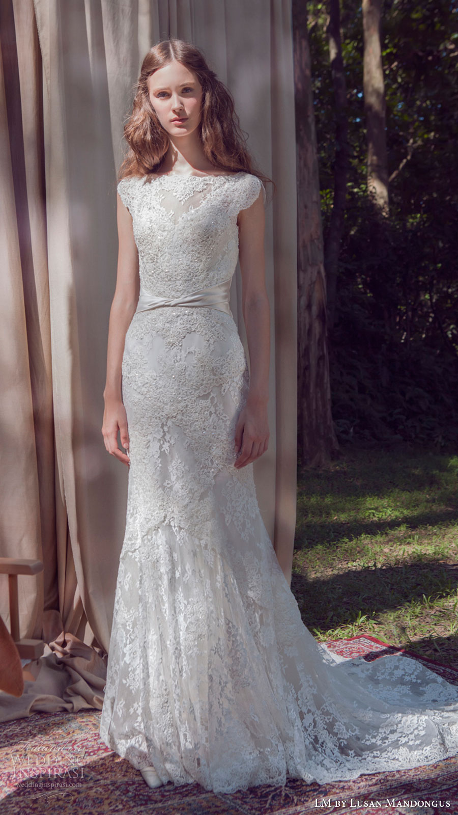 lm lusan mandongus bridal 2017 cap sleeve illusion bateau neck lace sheath wedding dress (lm3256b) mv train