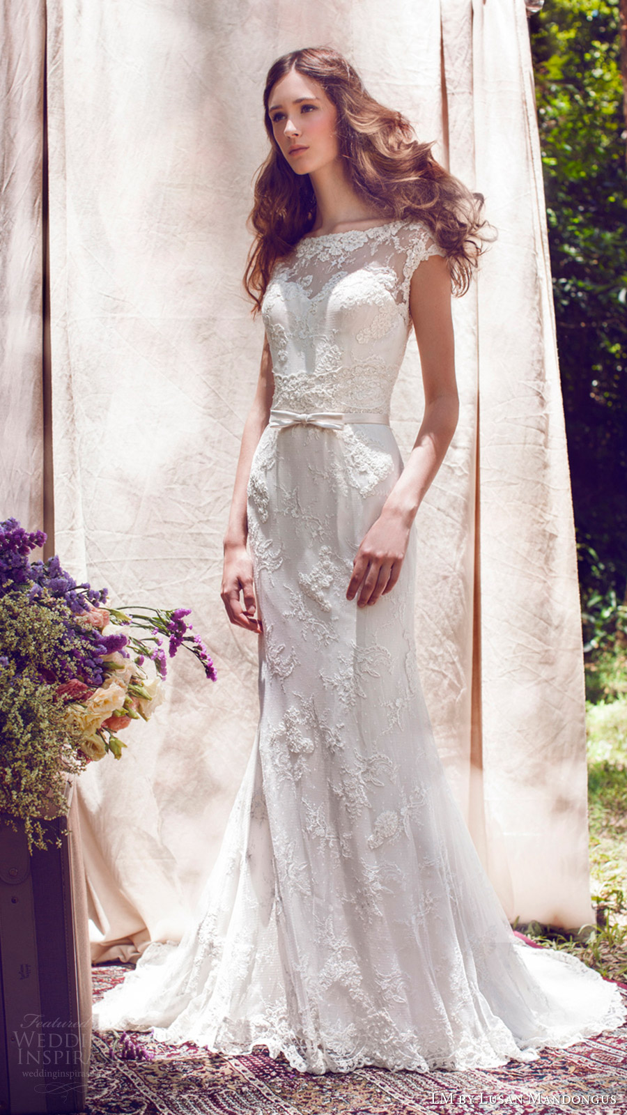 lm lusan mandongus bridal 2017 cap sleeve illusion bateau neck lace trumpet wedding dress (lm3024b) mv