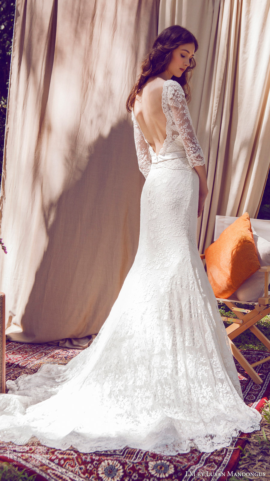lm lusan mandongus bridal 2017 illusion bateau neck 3 quarter sleees lace trumpet wedding dress (lm3091b) bv open back train