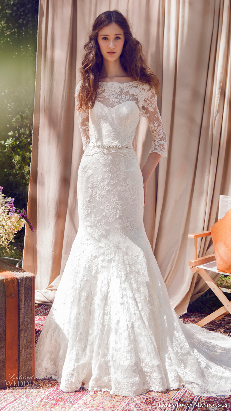 lm lusan mandongus bridal 2017 illusion bateau neck 3 quarter sleees lace trumpet wedding dress (lm3091b) mv train