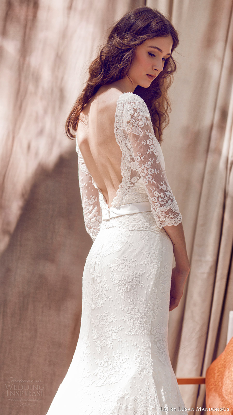 lm lusan mandongus bridal 2017 illusion bateau neck 3 quarter sleees lace trumpet wedding dress (lm3091b) zbv open back train