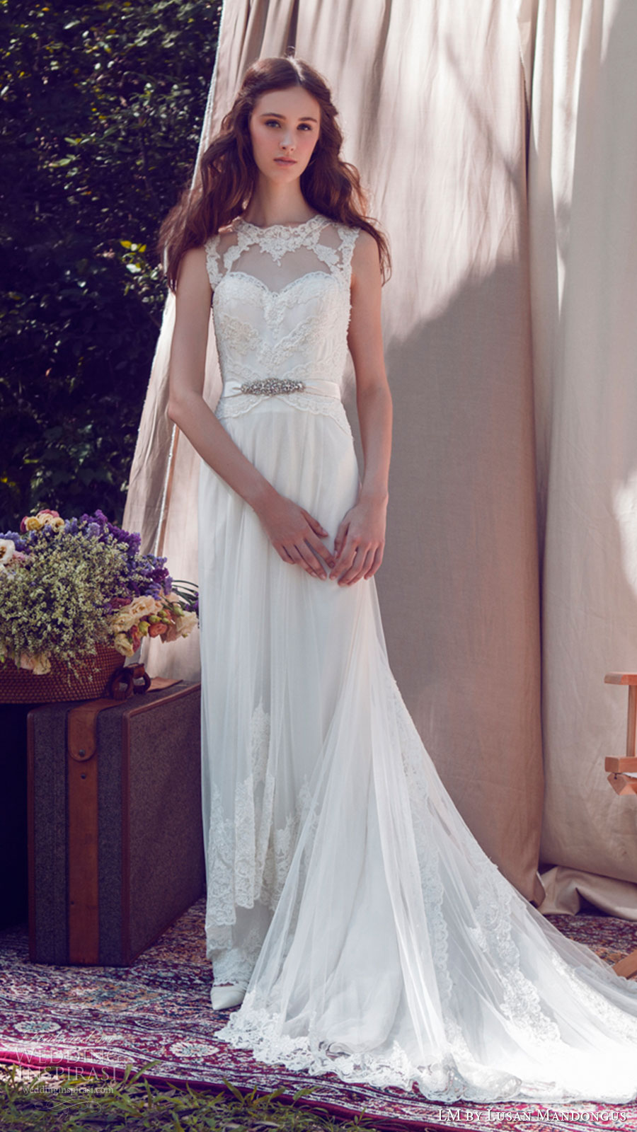 lm lusan mandongus bridal 2017 sleeveless illusion jewel neck lace sheath wedding dress (lm3223b) mv train
