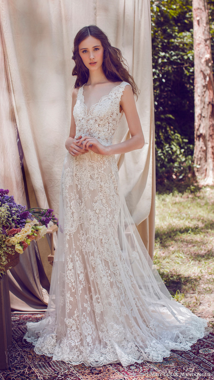 lm lusan mandongus bridal 2017 sleeveless vneck lace trumpet wedding dress (lm3250b) mv
