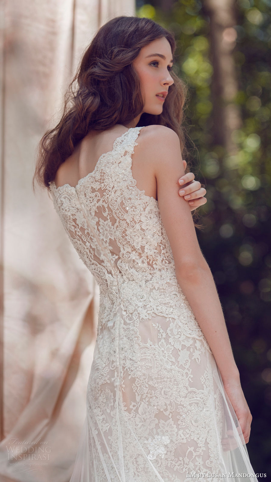lm lusan mandongus bridal 2017 sleeveless vneck lace trumpet wedding dress (lm3250b) zbv illusion back
