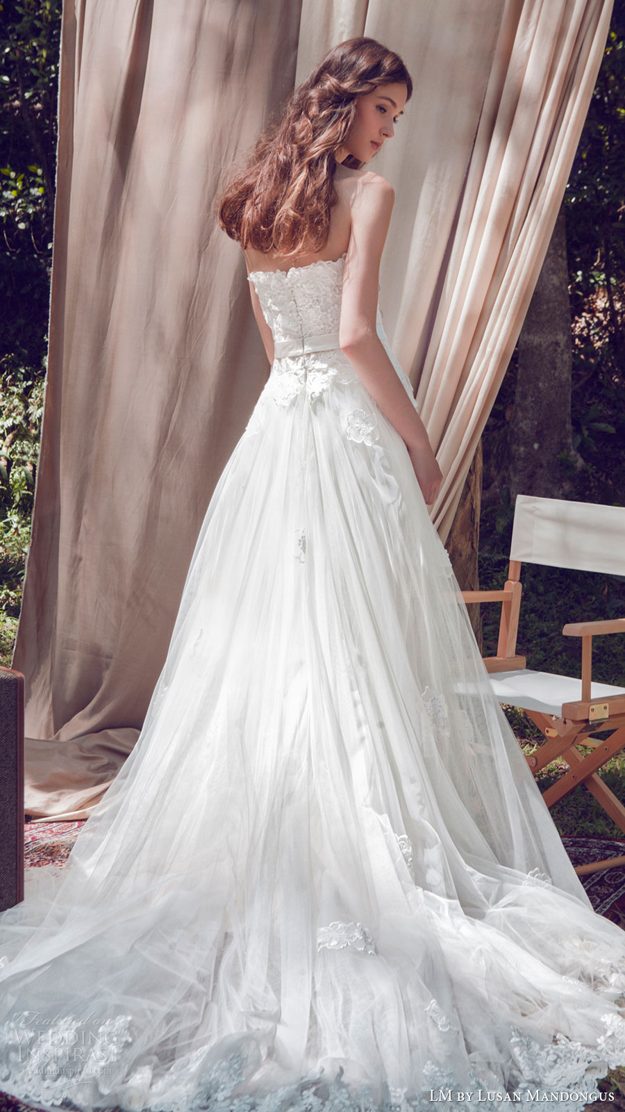 lm lusan mandongus bridal 2017 strapless sweetheart aline lace wedding dress (lm3235b) bv romantic train