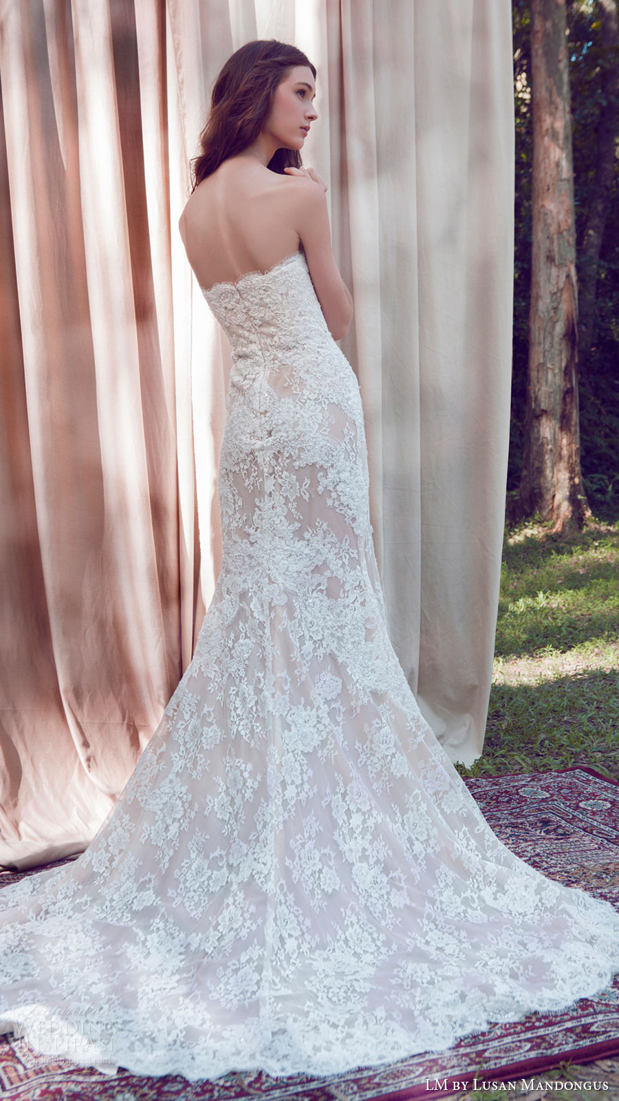 lm lusan mandongus bridal 2017 strapless sweetheart lace mermaid blush color wedding dress (lm3249b) bv train