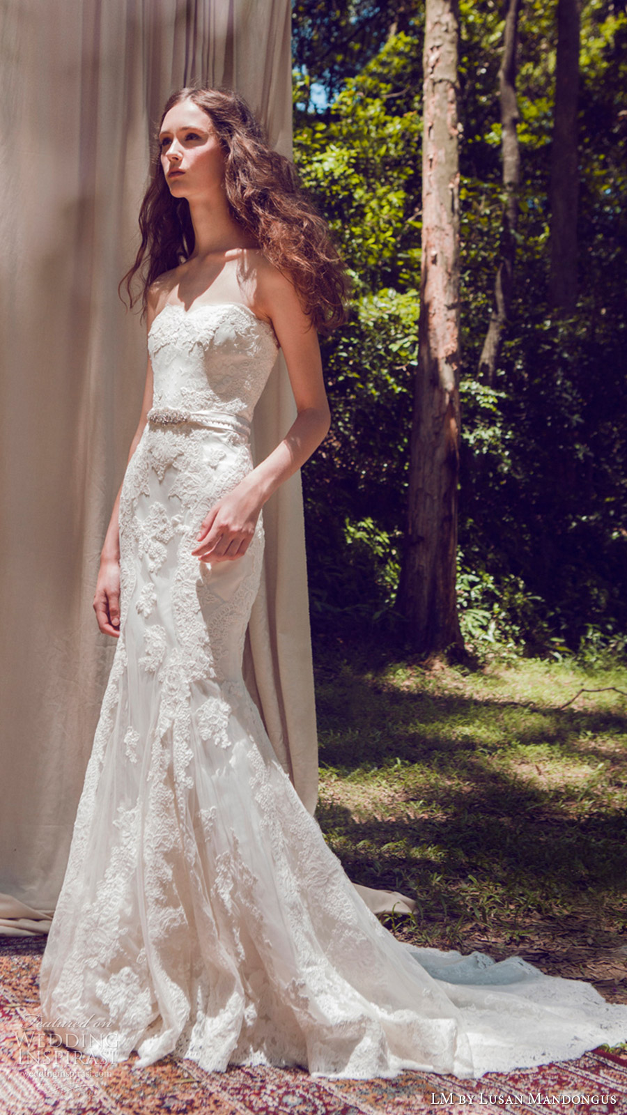 lm lusan mandongus bridal 2017 strapless sweetheart trumpet mermaid lace wedding dress (lm3068b) mv train