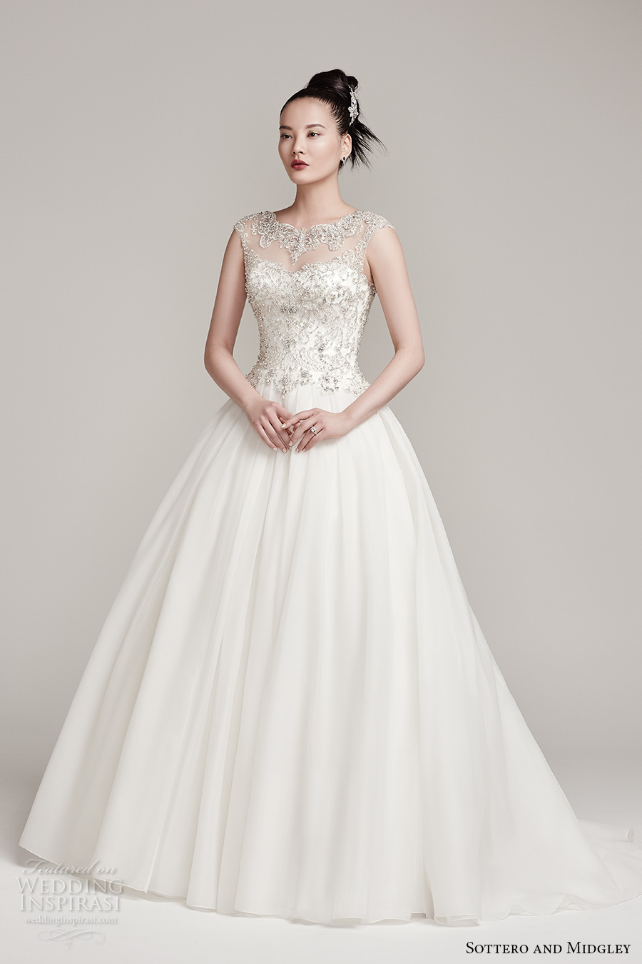 sottero midgley fall 2016 bridal cap sleeves illusion scallop round neckline sweetheart neckline heavily embellished princess ball gown a  line wedding dress sweep train (monaco) mv
