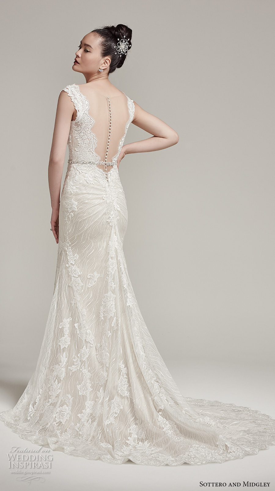 sottero midgley fall 2016 bridal cap sleeves scallop deep plunging v neckline full embellishment gorgeous elegant sexy fit and flare mermaid wedding dress sheer low back sweep train (wyatt) bv