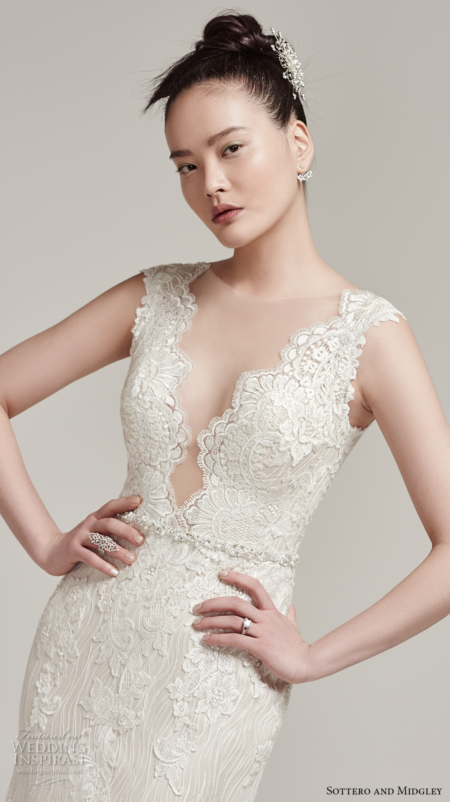 sottero midgley fall 2016 bridal cap sleeves scallop deep plunging v neckline full embellishment gorgeous elegant sexy fit and flare mermaid wedding dress sheer low back sweep train (wyatt) zv