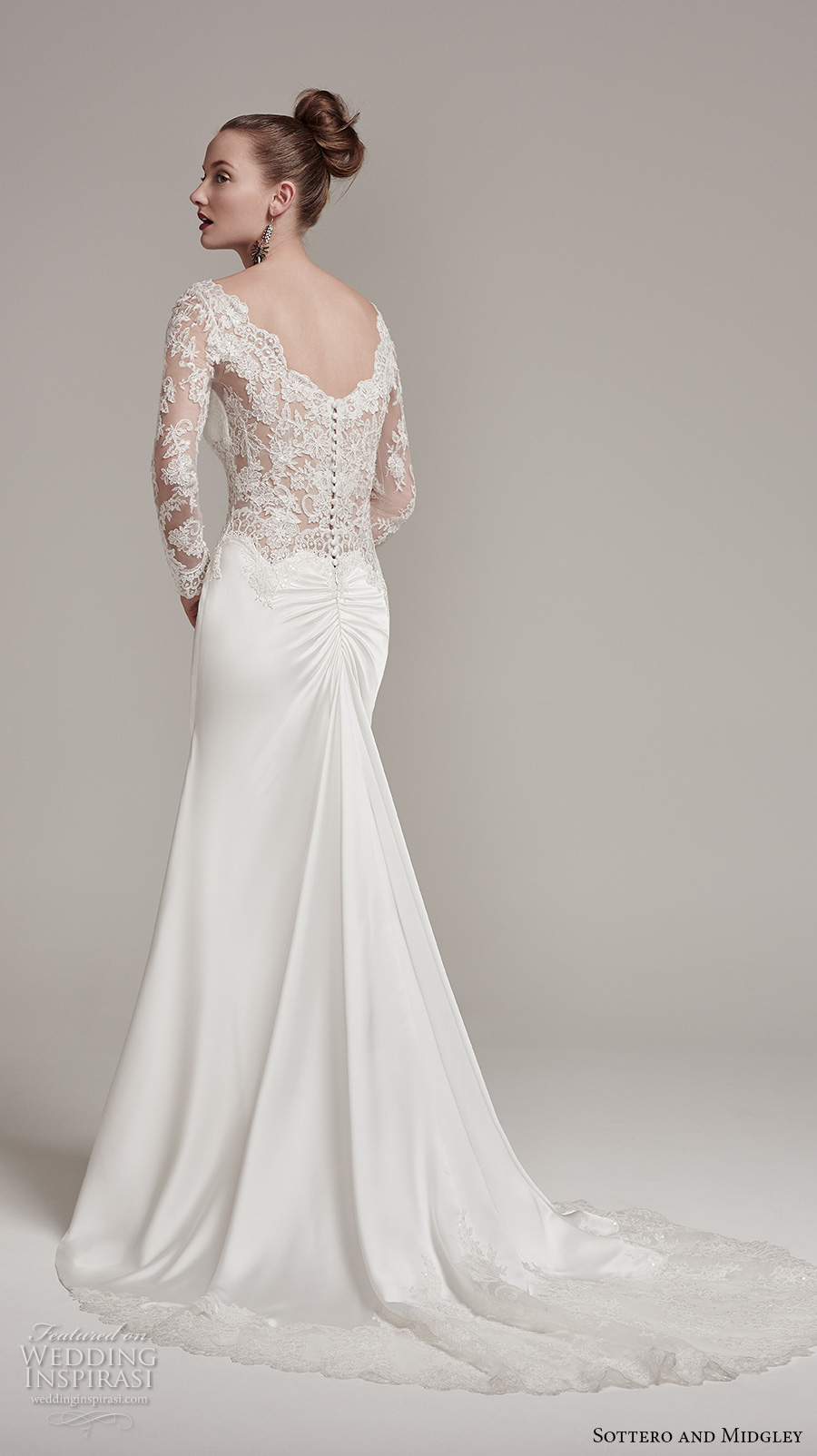 sottero midgley fall 2016 bridal long sleeves bateau neckline heavily embellished bodice satin skirt elegant sexy sheath wedding dress illusion back sweep train (fiona rose) bv