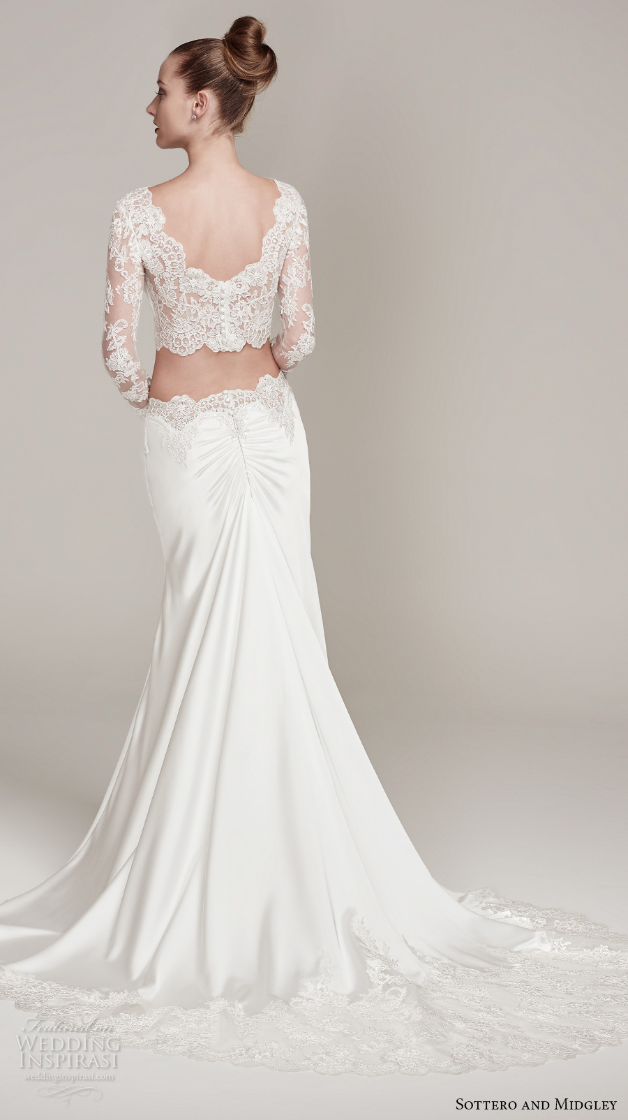 sottero midgley fall 2016 bridal long sleeves bateau neckline lace crop top 2 piece satin skirt sheath wedding dress lace back sweep train (fiona) bv
