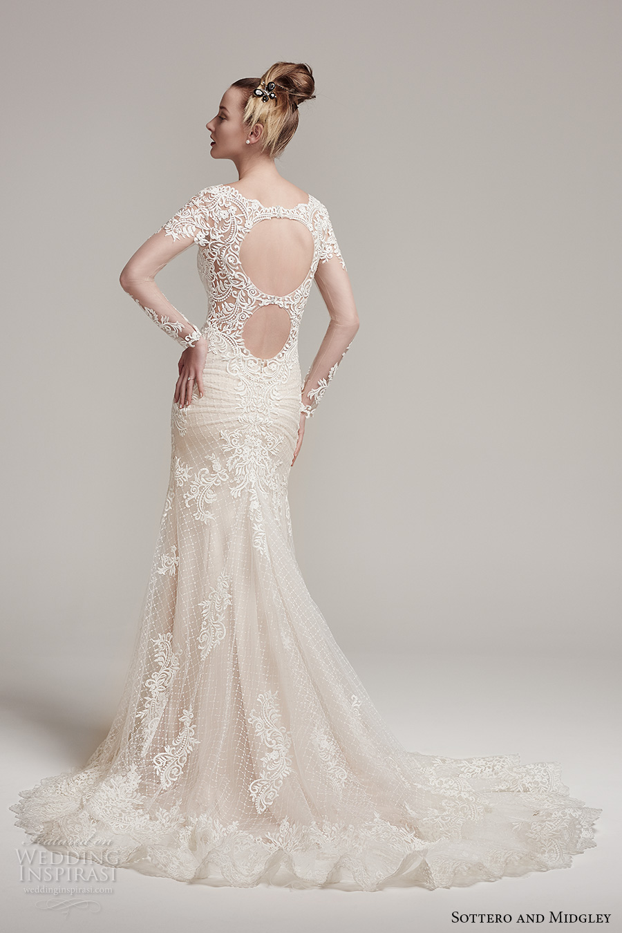 sottero midgley fall 2016 bridal long sleeves scoop neckline heavily emebllished bodice gorgeous elegant fit and flare mermaid wedding dress keyhole back chapel train (melrose) bv