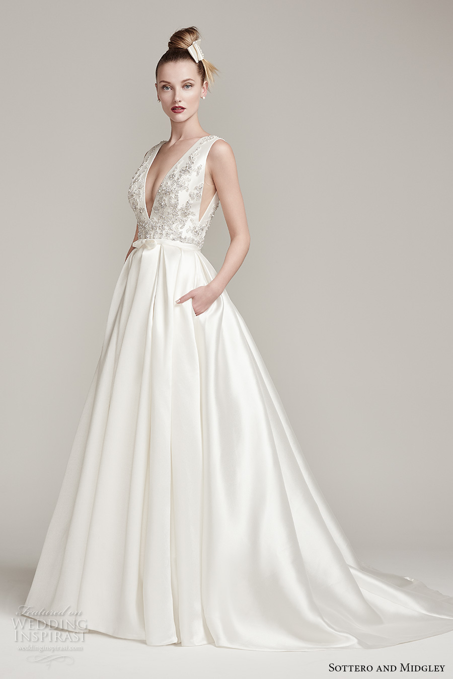 sottero midgley fall 2016 bridal sleeveless deep plunging v neck heavily embellished bodice sexy a  line wedding dress with pocket v back sweep train (margot) mv