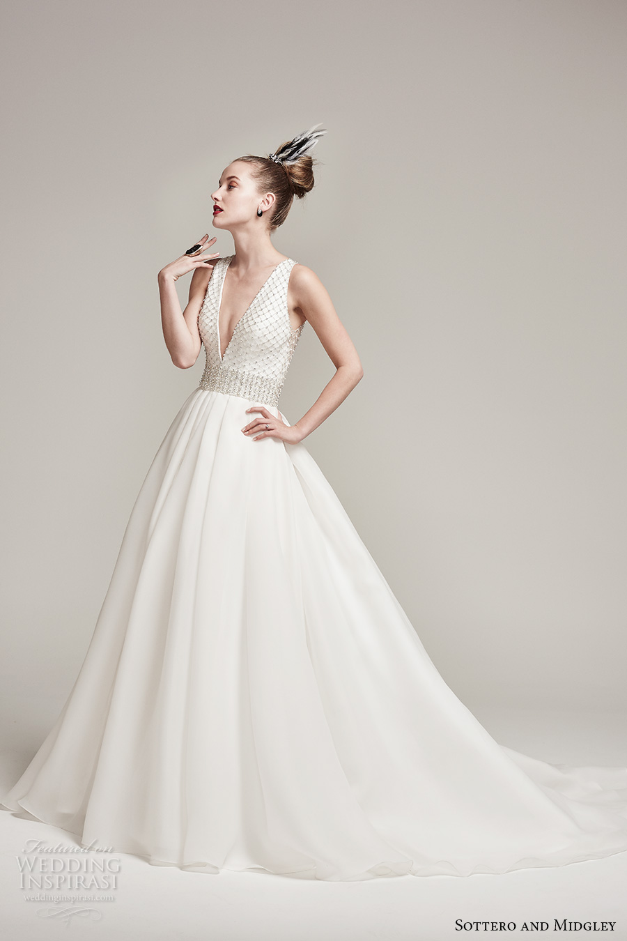 sottero midgley fall 2016 bridal sleeveless deep plunging v neck heavily embellished bodice sophiscated a  line wedding dress with pockets illusion back chapel train (tamirys) mv
