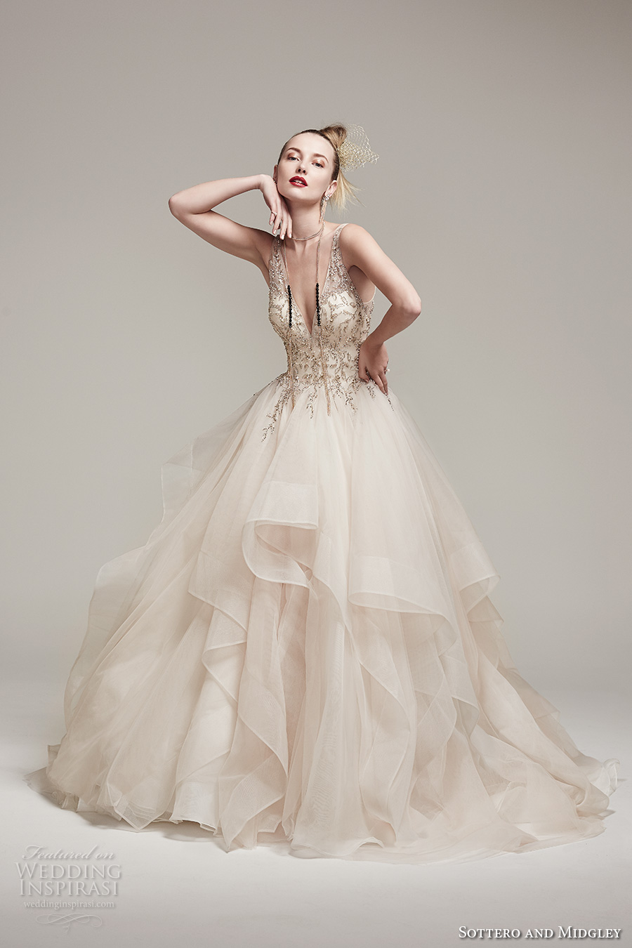 sottero midgley fall 2016 bridal sleeveless deep v neck heavily embellished bodice layered tiered princess ball gown a  line wedding dress low back v back chapel train (amelie) mv