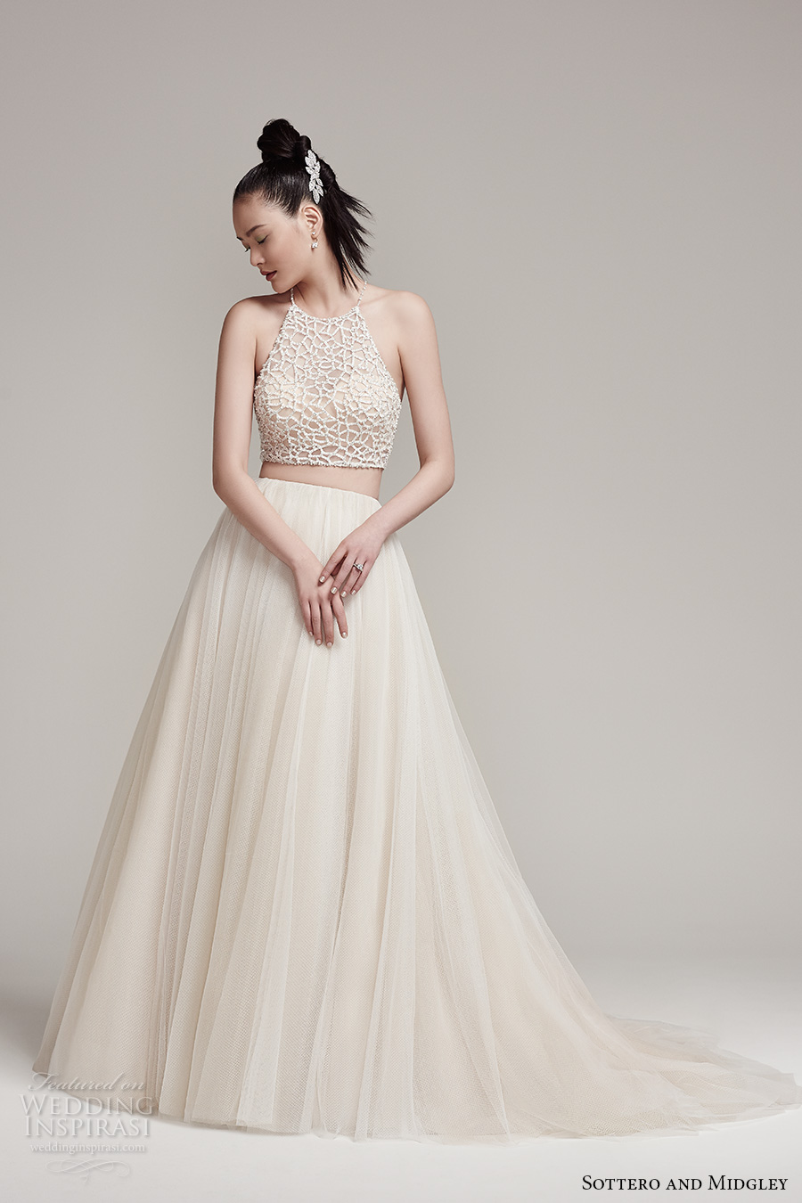 sottero midgley fall 2016 bridal sleeveless halter neck illusion heavily embellished crop top 2 piece pleated skirt cream color a  line wedding dress chapel train (jude top shardea skirt) mv