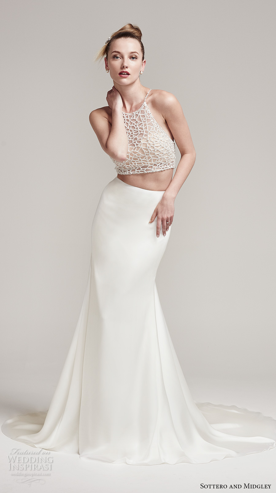 sottero midgley fall 2016 bridal sleeveless halter neck illusion heavily embellished crop top 2 piece satin skirt sheath wedding dress chapel train (jude top alliett skirt) mv