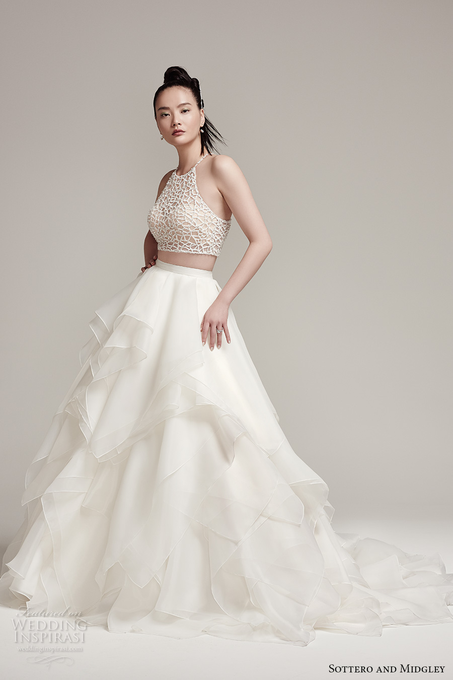 Sottero Midgley Fall 2016 Bridal Sleeveless Halter Neck Illusion Heavily Embellished Crop Top 2 Piece Tulle