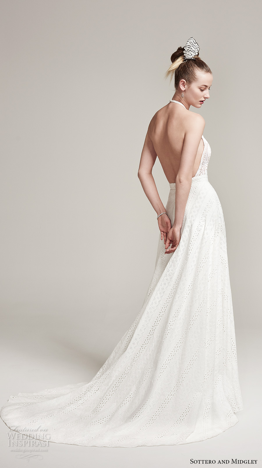 sottero midgley fall 2016 bridal sleeveless halter neck lace embroidered full embellishment bohemian a  line wedding dress open back sweep train (nicole) bv