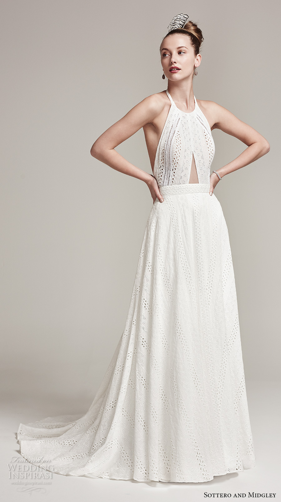 sottero midgley fall 2016 bridal sleeveless halter neck lace embroidered full embellishment bohemian a  line wedding dress open back sweep train (nicole) mv