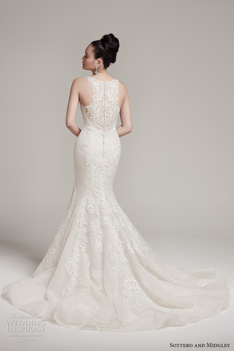 sottero midgley fall 2016 bridal sleeveless illusion jewel neck sweetheart neckline full embellishment classic elegant mermaid wedding dress illusion back chapel train (rae) bv