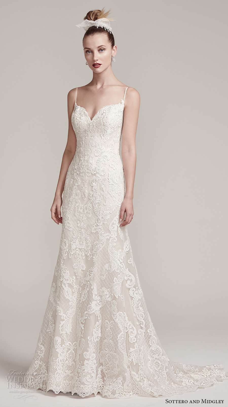 sottero midgley fall 2016 bridal sleeveless spagetti strap sweetheart neckline full embellishment romantic modified a  line wedding dress sweep train (parker) mv