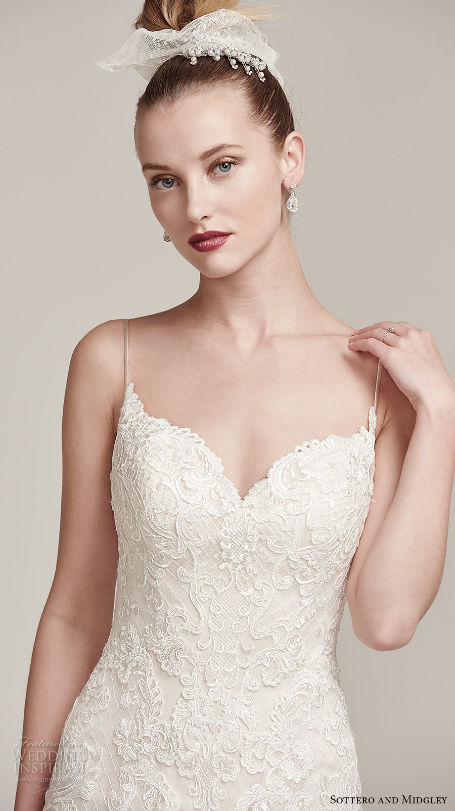 sottero midgley fall 2016 bridal sleeveless spagetti strap sweetheart neckline full embellishment romantic modified a  line wedding dress sweep train (parker) zv