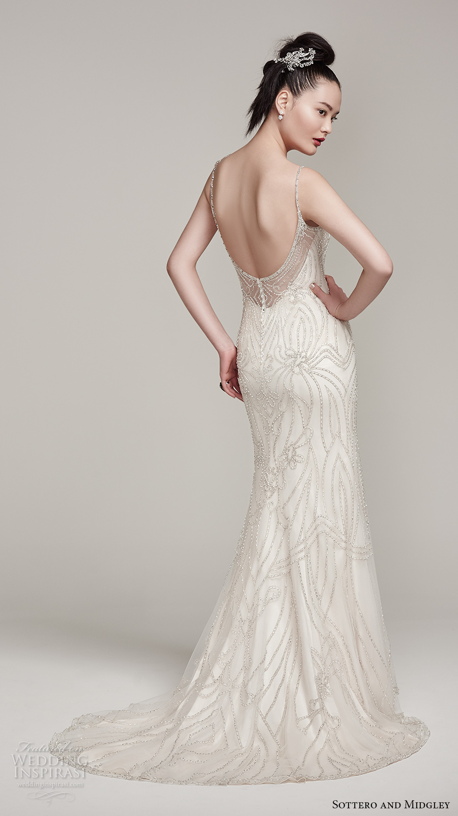 sottero midgley fall 2016 bridal sleeveless spagetti strap v neck beaded full embellishement glamorous sheath wedding dress open back sweep train (mikelle) bv