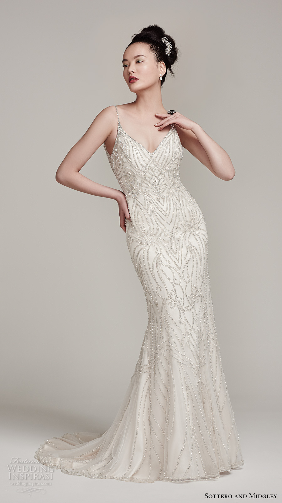 sottero midgley fall 2016 bridal sleeveless spagetti strap v neck beaded full embellishement glamorous sheath wedding dress open back sweep train (mikelle) mv