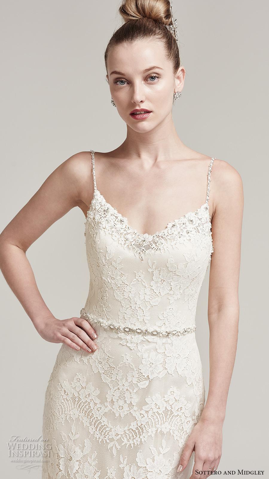 sottero midgley fall 2016 bridal sleeveless spagetti strap v neck full embellishment elegant lace fit and flare wedding dress scoop back sweep train (ester) zv