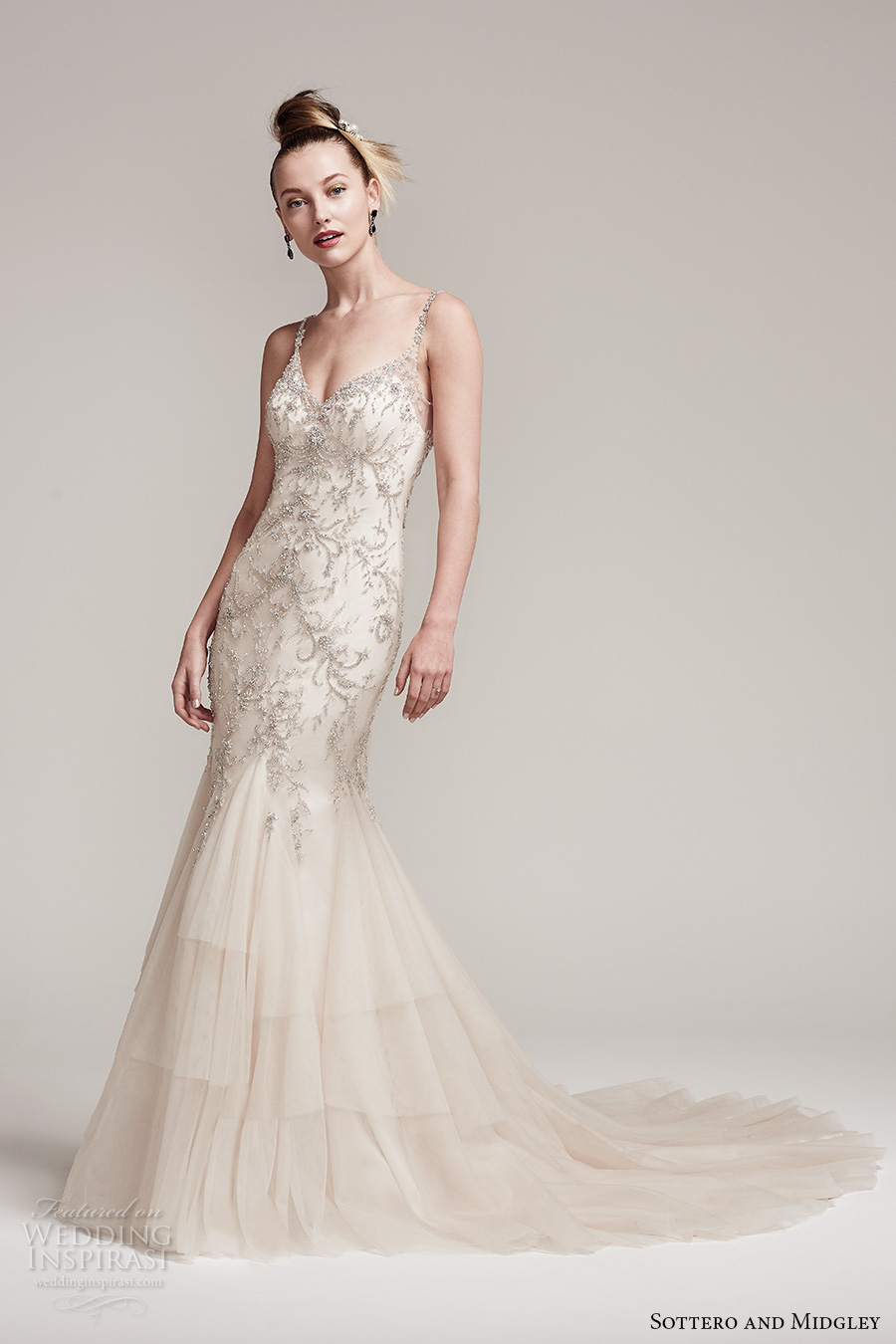 sottero midgley fall 2016 bridal sleeveless spagetti strap v neck heavily embellished bodice elegant glamorous fit and flare wedding dress open back chapel train (erin) mv