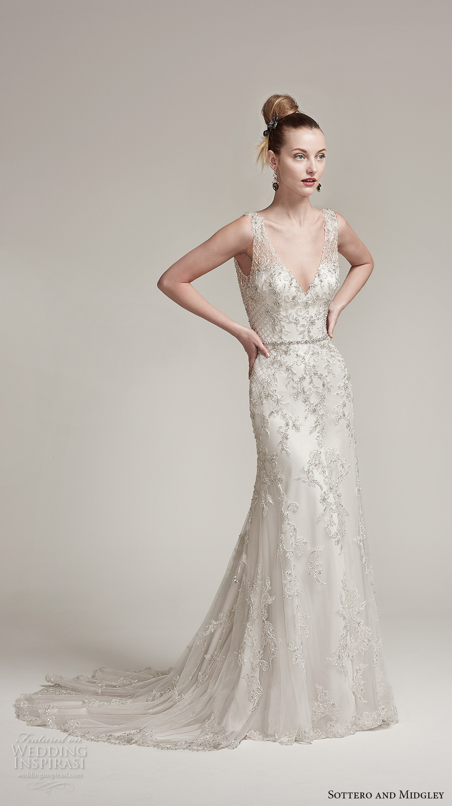 sottero midgley fall 2016 bridal sleeveless thick strap v neck heavily embellished bodice elegant sheath wedding dress v back sweep train (ronnie) mv