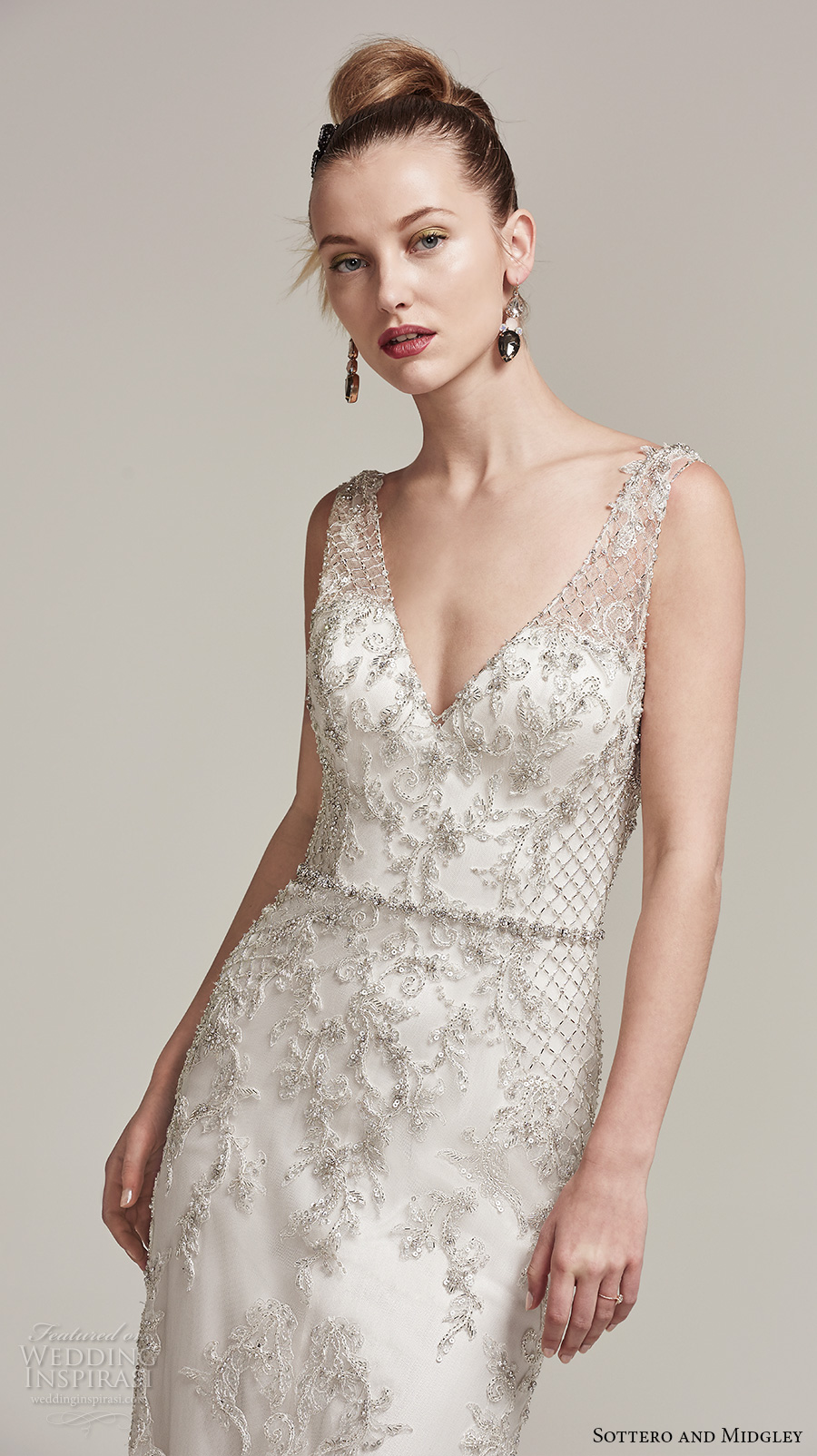 sottero midgley fall 2016 bridal sleeveless thick strap v neck heavily embellished bodice elegant sheath wedding dress v back sweep train (ronnie) zv