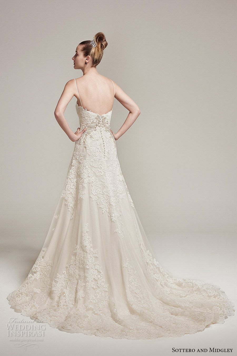 sottero midgley fall 2016 bridal spagetti strap scoop neckline full embellishment elegant a  line wedding dress sweep train (waller rose) bv