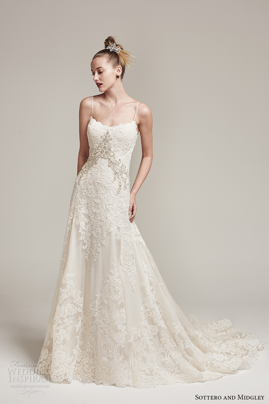 sottero midgley fall 2016 bridal spagetti strap scoop neckline full embellishment elegant a  line wedding dress sweep train (waller rose) mv
