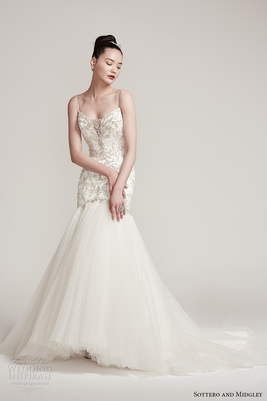 sottero midgley fall 2016 bridal spagetti strap sweetheart neckline heavily embellished bodice elegant mermaid wedding dress v back sweep train (thaylia) mv
