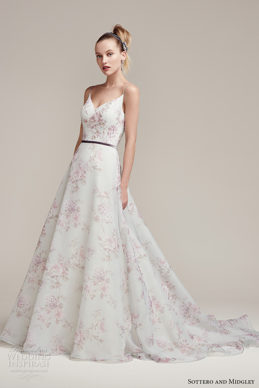 sottero midgley fall 2016 bridal spagetti strap v neck flower prints pretty romantic a  line wedding dress low back chapel train (kira) mv