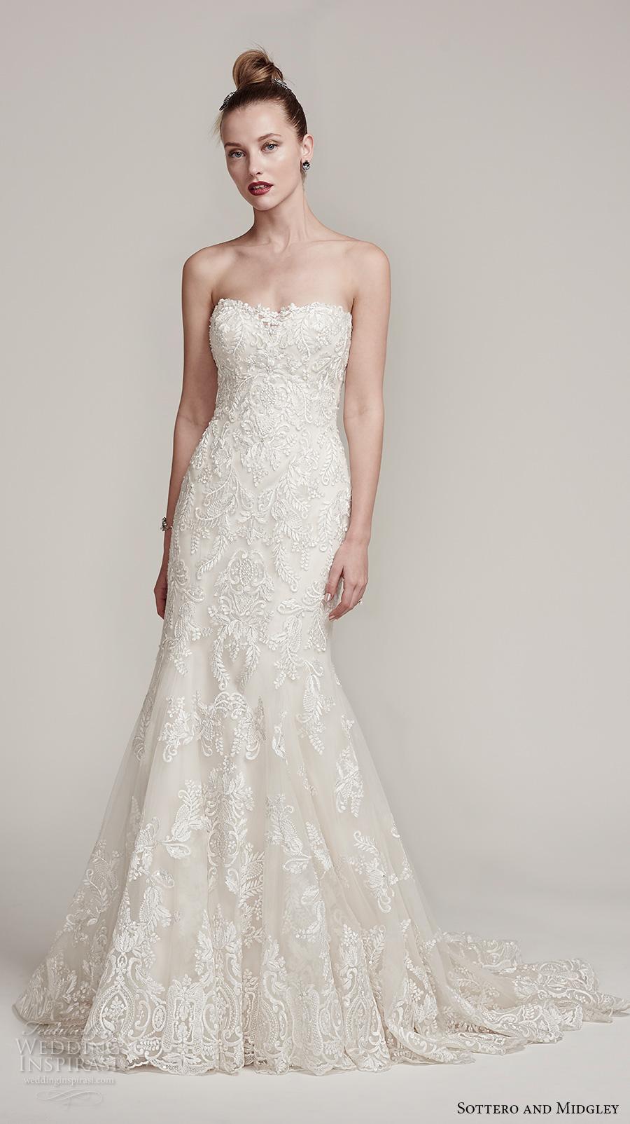 sottero midgley fall 2016 bridal strapless semi sweetheart neckline full embellished gorgeous elegant fit and flare mermaid wedding dress sweep train (tessa) mv