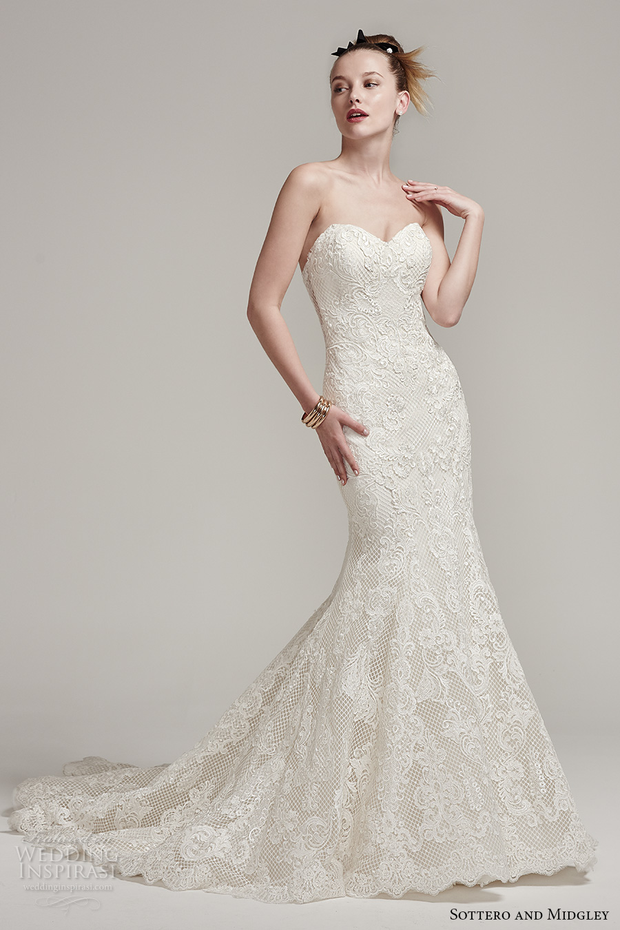sottero midgley fall 2016 bridal strapless sweetheart neckline full embellishment beautiful elegant mermaid wedding dress chapel train (leona) mv