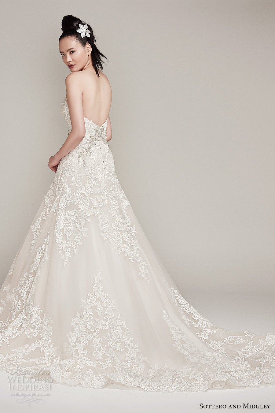 sottero midgley fall 2016 bridal strapless sweetheart neckline full embellishment romantic a  line wedding dress chapel train (walker) bv