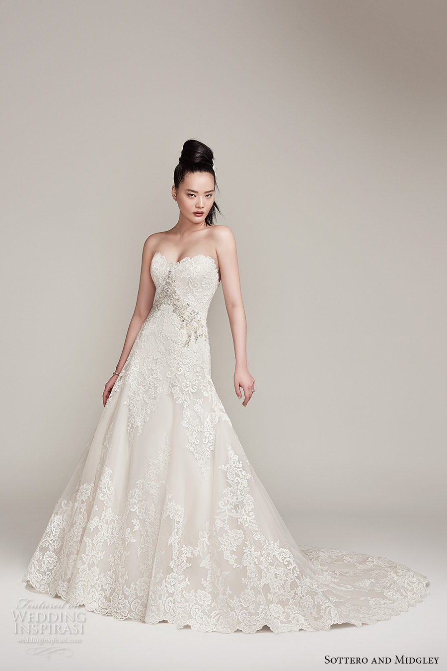 sottero midgley fall 2016 bridal strapless sweetheart neckline full embellishment romantic a  line wedding dress chapel train (walker) mv