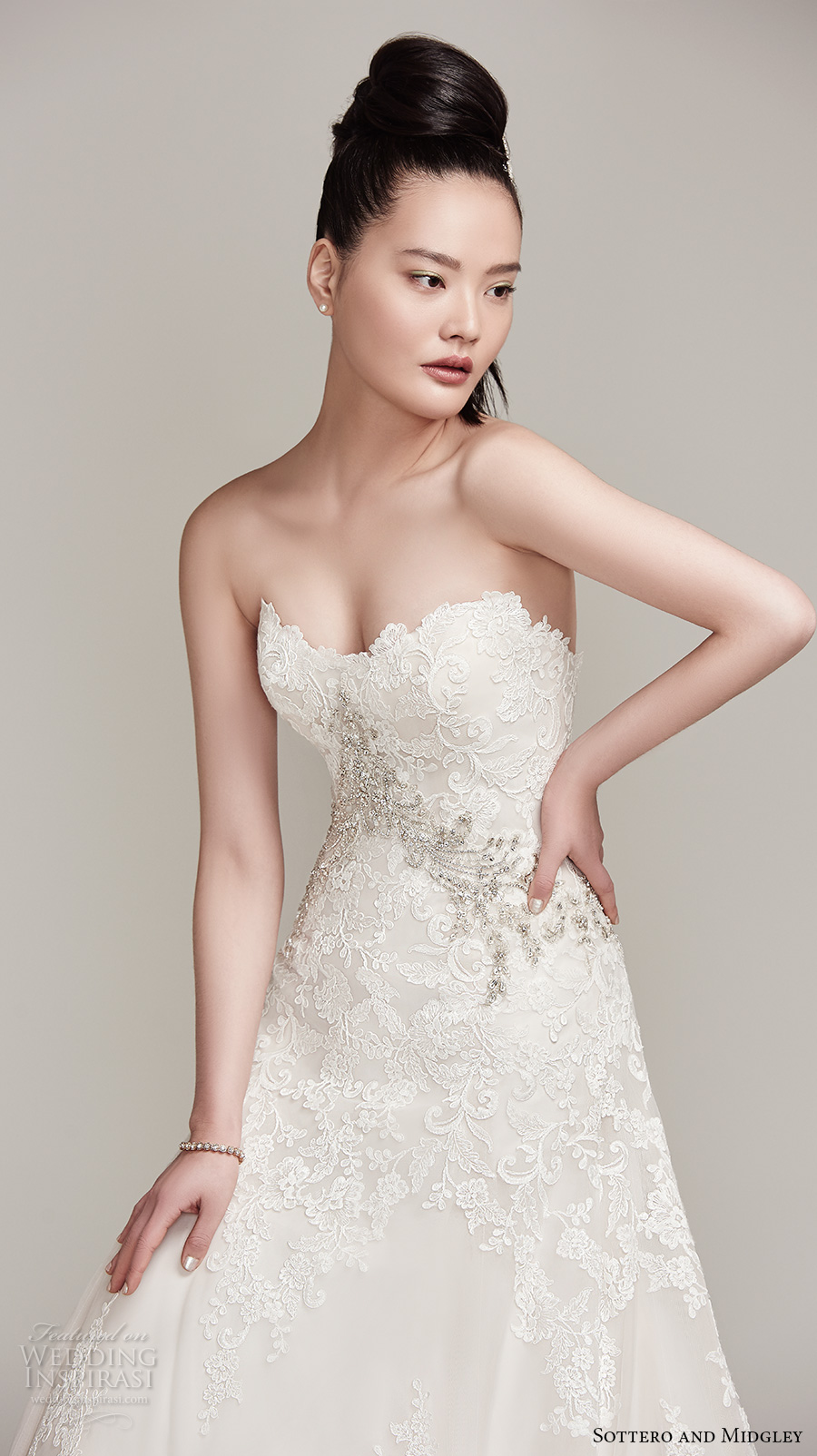 sottero midgley fall 2016 bridal strapless sweetheart neckline full embellishment romantic a  line wedding dress chapel train (walker) zv