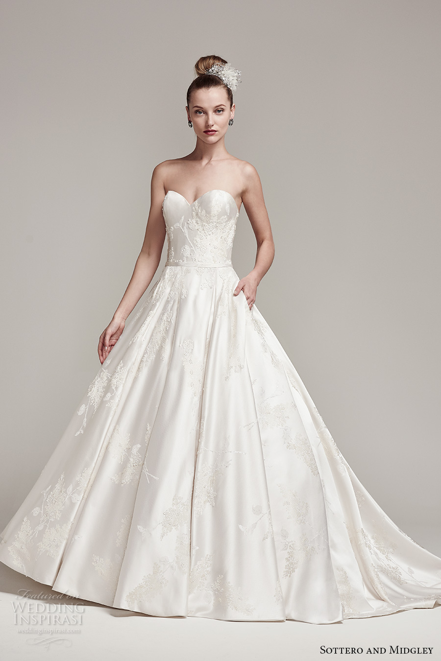 sottero midgley fall 2016 bridal strapless sweetheart neckline full embellishment shiny satin classic princess a  line wedding dress chapel train (essex) mv