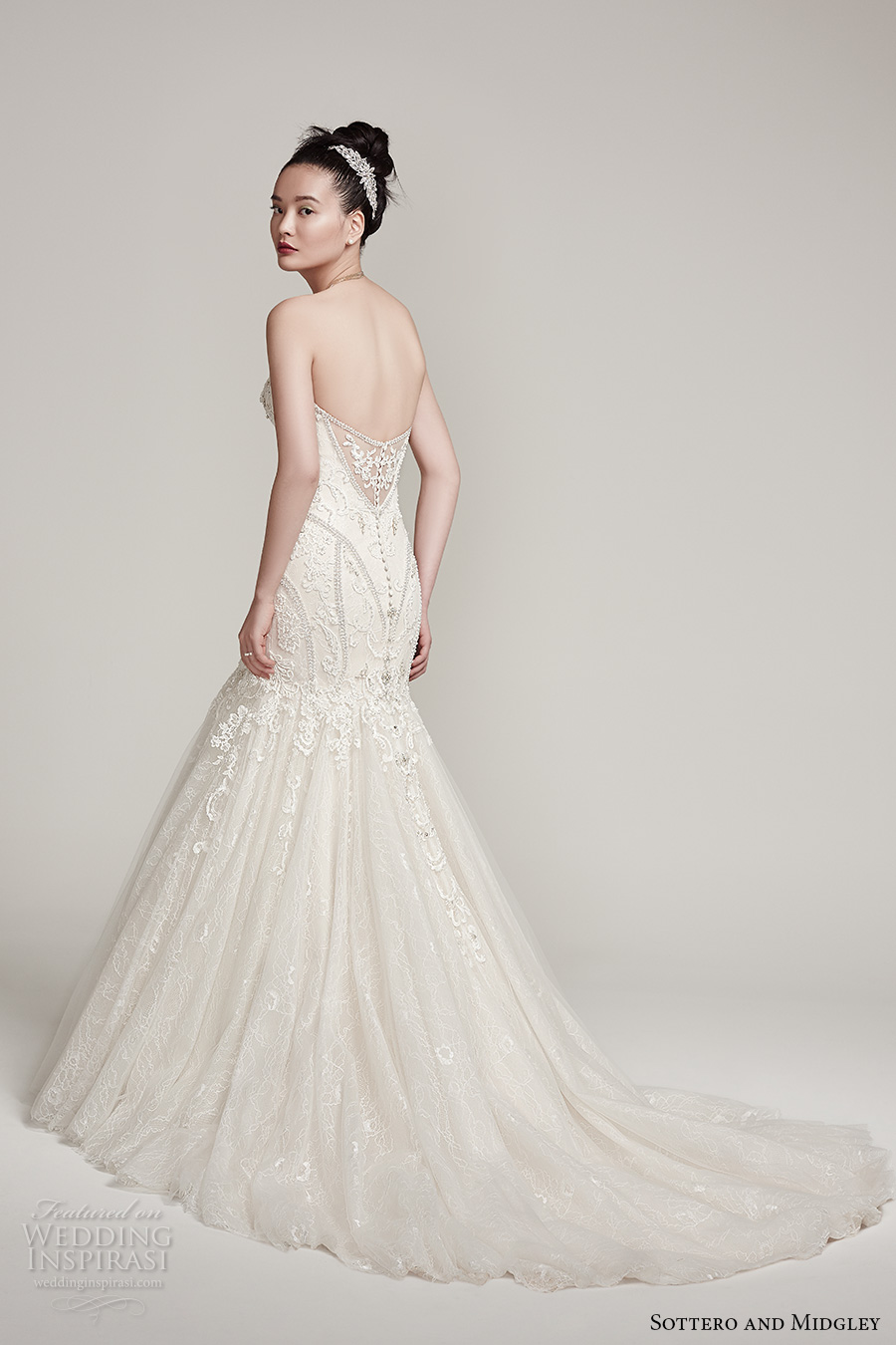 sottero midgley fall 2016 bridal strapless sweetheart neckline heavily embellished bodice glamorous mermaid wedding dress chapel train (nina) bv