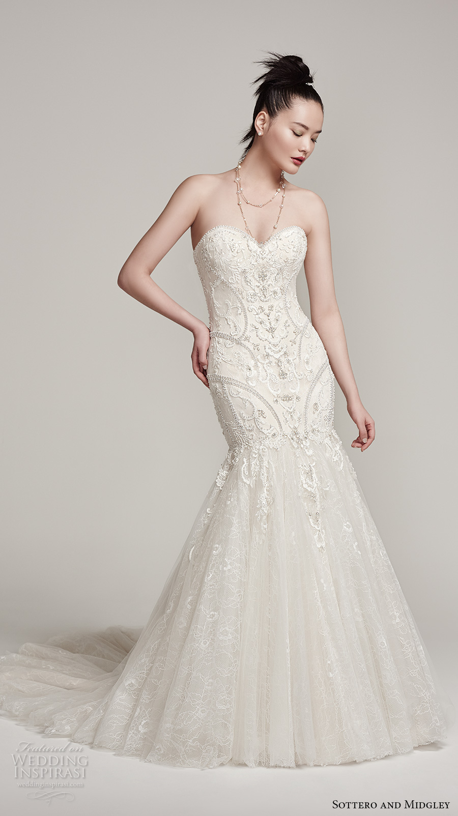 sottero midgley fall 2016 bridal strapless sweetheart neckline heavily embellished bodice glamorous mermaid wedding dress chapel train (nina) mv
