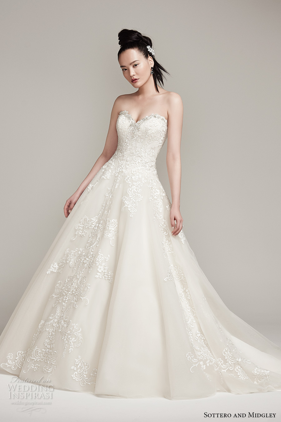 sottero midgley fall 2016 bridal strapless sweetheart neckline heavily embellished bodice romantic a  line wedding dress chapel train (olga) mv